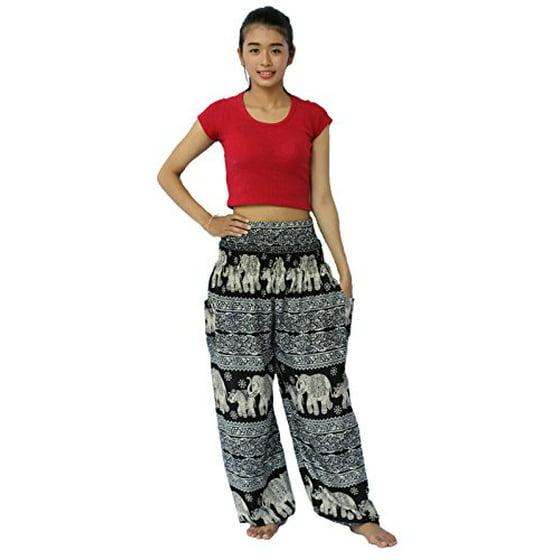 3790991a4e NaLuck - NaLuck Women's Boho Hippie Elephant Jumpsuit Rayon Smocked Waist  Yoga Baggy Harem Pants PJ23-Purple#3 - Walmart.com