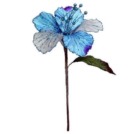 Aqua Velvet Hibiscus Flower Pick, 21 & 6 in.