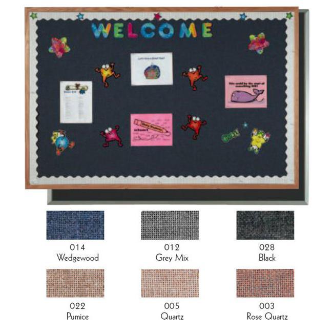 Aarco Products OF4896014 Designer Fabric Bulletin Board Oak Frame - Wedgewood