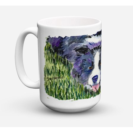Border Collie Dishwasher Safe Microwavable Ceramic Coffee Mug 15 ounce SS8836CM15