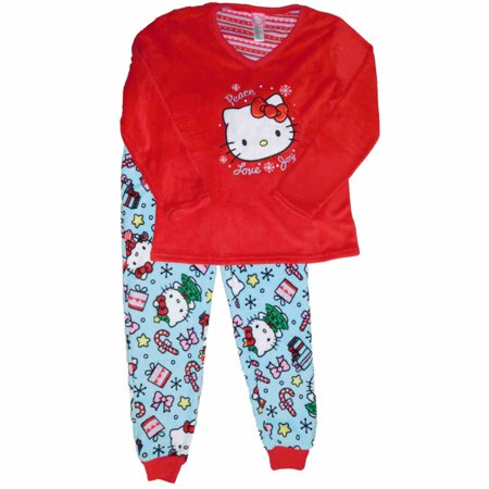 Womens Hello Kitty Cat Christmas Snowflake Pajamas Gifts Candy Holiday Sleep - Hello Kitty Gifts