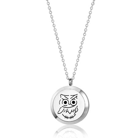 Anavia Baby Owl Round Aromatherapy Jewelry Essential Oil Necklace With Gift Box