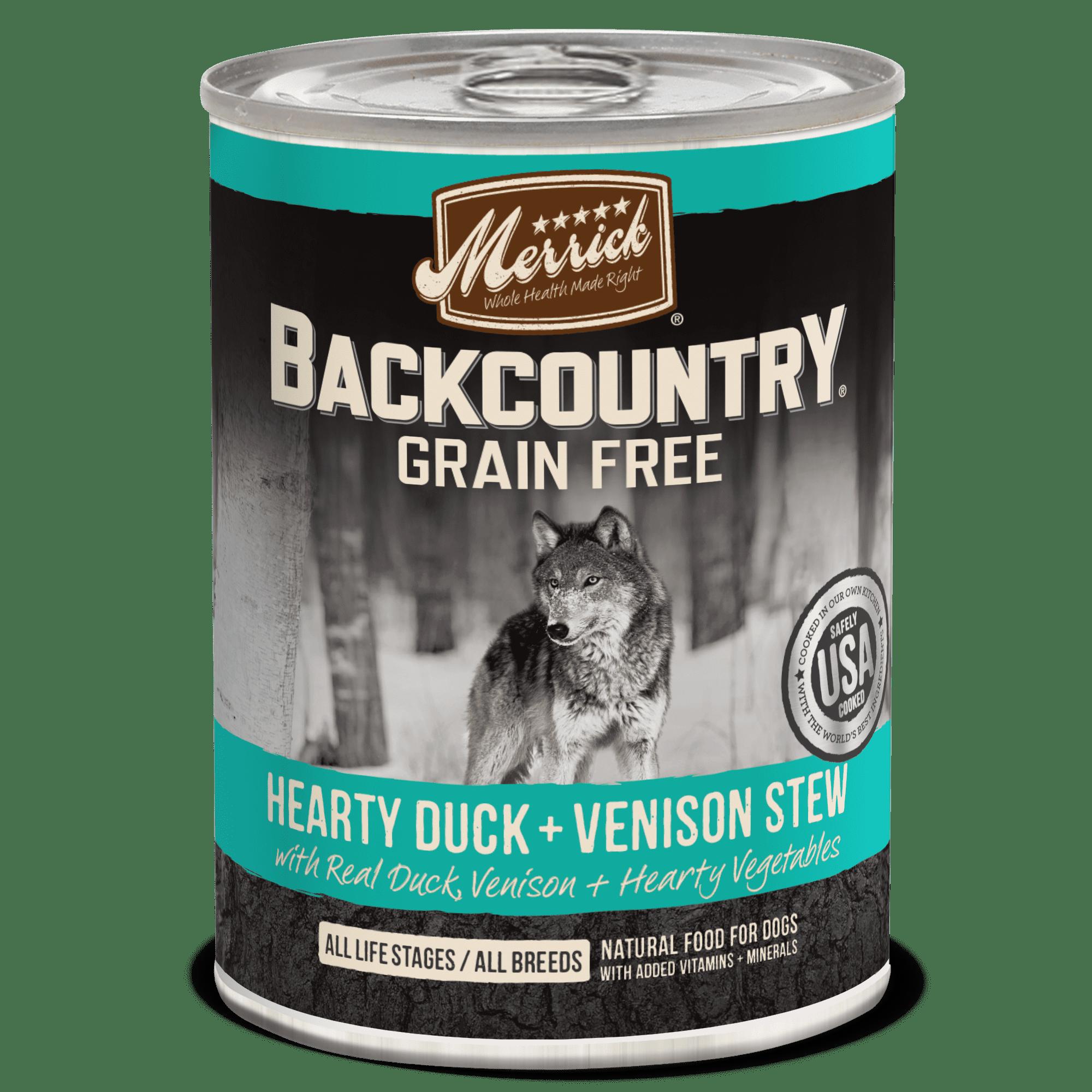 Merrick Backcountry Grain-Free Hearty Duck + Venison Stew Wet Dog Food, 12.7 oz, Case of 12
