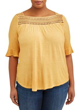 12be0c5f418 Product Image Women s Plus Elbow Sleeve Square Neck Round Hem Top
