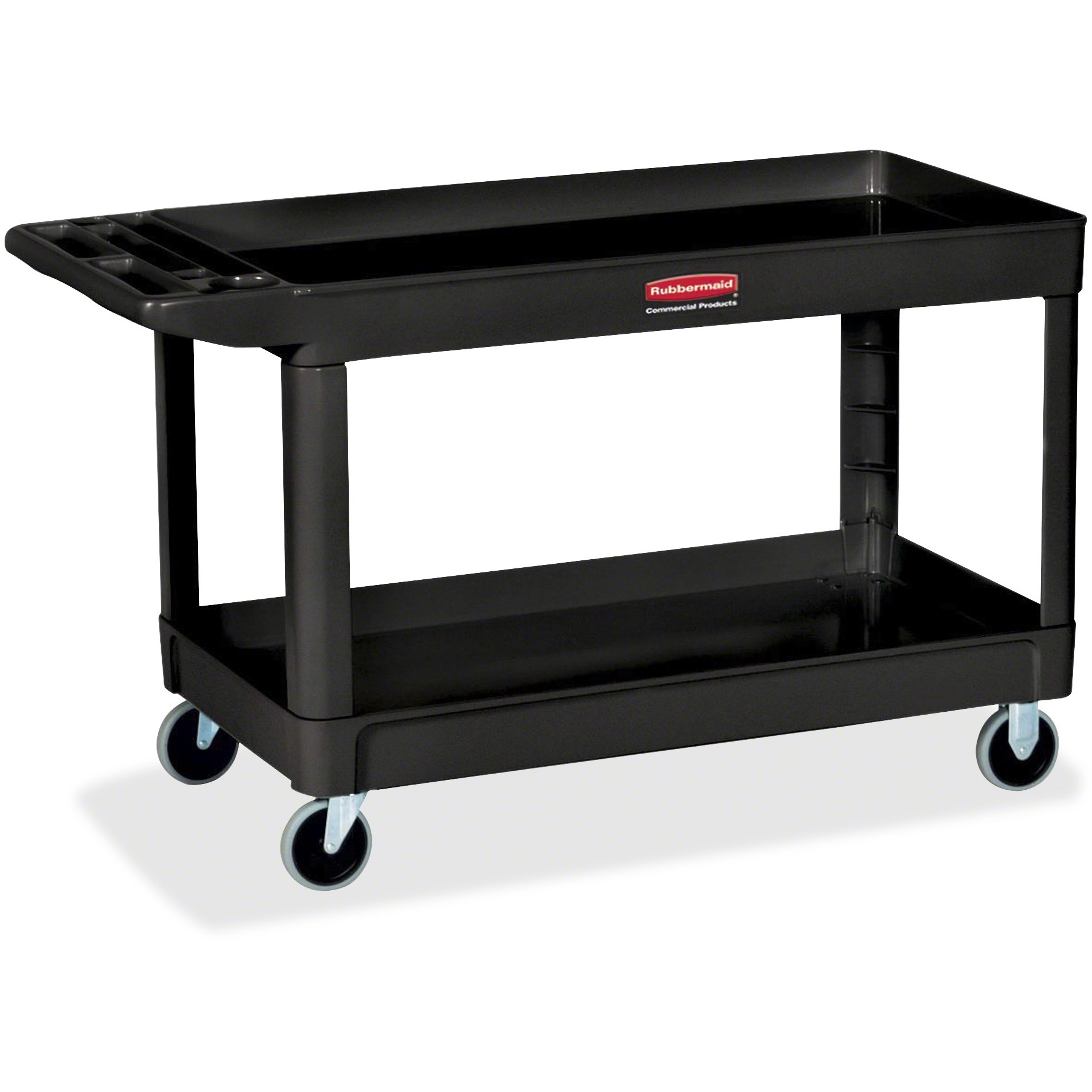 "Rubbermaid Commercial, RCP9T6700BLA, 4"" Casters 2-shelf Utility Cart, 1 Each, Black"