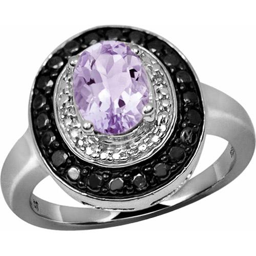 JewelersClub 1.09 Carat Pink Amethyst Gemstone and 1/7 Carat Black and White Diamond Ring