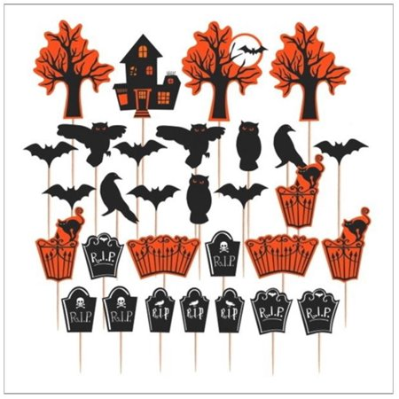 Haunted House Tombstone Tree Halloween Party Decoration Cupcake Picks - 30 Pcs