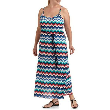 Women\'s Plus-Size Chevron Striped Maxi Dress