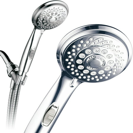 PowerSpa 7-Setting Luxury Hand Shower with On/Off Pause Switch, Chrome