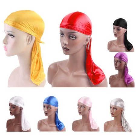Solid Color Nylon Smooth Shiny Silky Du Rag Durag Headband Pirate Cap Unisex Hat