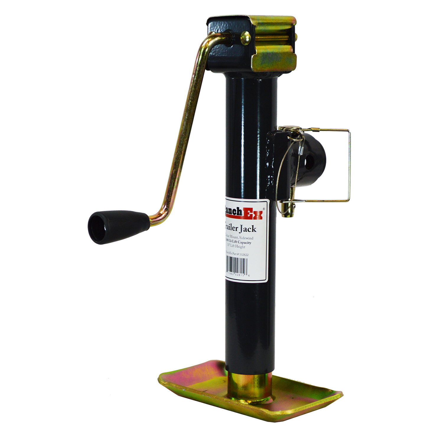 "RanchEx Tubular Mount Side wind Trailer Jack, 5,000 lb. Lift Capacity, 10"" Lift Height by RanchEx"