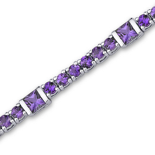 Oravo One of a Kind Design Princess and Round Cut Bracelet in Sterling Silver