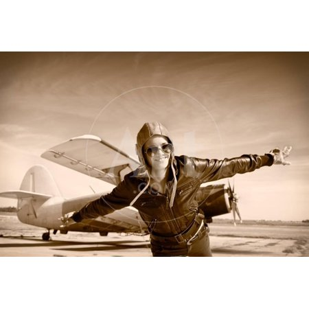 Happy Young Woman with Raised Hands  Flying on Airporte, Sepia Photo. Print Wall Art By Aleksandar Todorovic