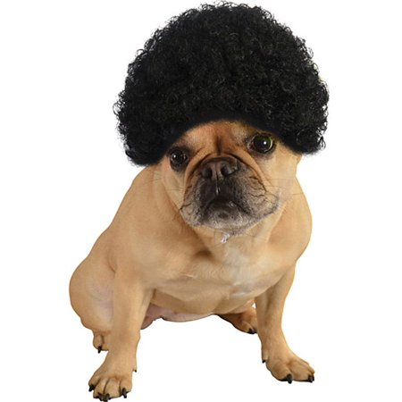 Black Disco Hippie Curly Afro Hair Wig Pet Dog Halloween Costume Accessory S/M - Halloween Costumes Curly Hair