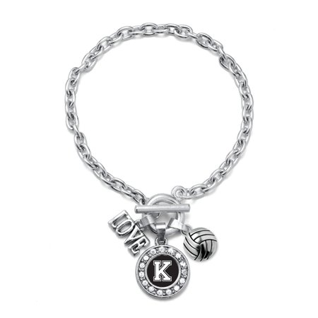 My Sports Initial Circle Charm Volleyball Toggle Bracelet- Letter K](Volleyball Charm)