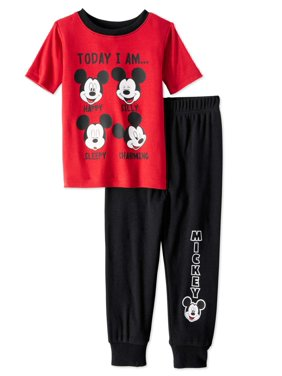 Mickey Mouse Baby Toddler Boy Short Sleeve Snug Fit Pajamas, 2Pc Set