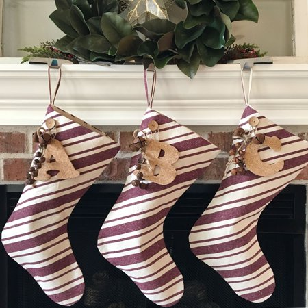 Dark Red Stripe Christmas Stocking With Personalized Letter - Christmas Stocking Personalized