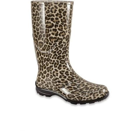 07ec15d279ed Women's Leopard Print Rain Boots - Walmart.com