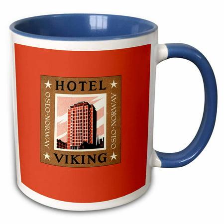 Norway Hotel - 3dRose Hotel Viking Oslo Norway Vintage Luggage Label Reproduction - Two Tone Blue Mug, 11-ounce