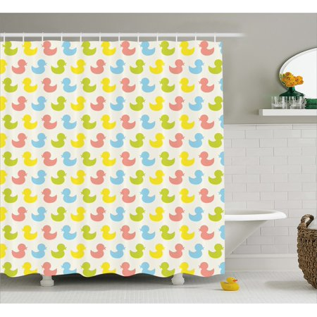 Rubber Duck Shower Curtain, Colorful Ducklings Baby Animals Theme Pastel Girls Boys Newborn, Fabric Bathroom Set with Hooks, 69W X 75L Inches Long, Pink Blue Green and Yellow, by Ambesonne - Yellow Ducks Baby Shower Theme