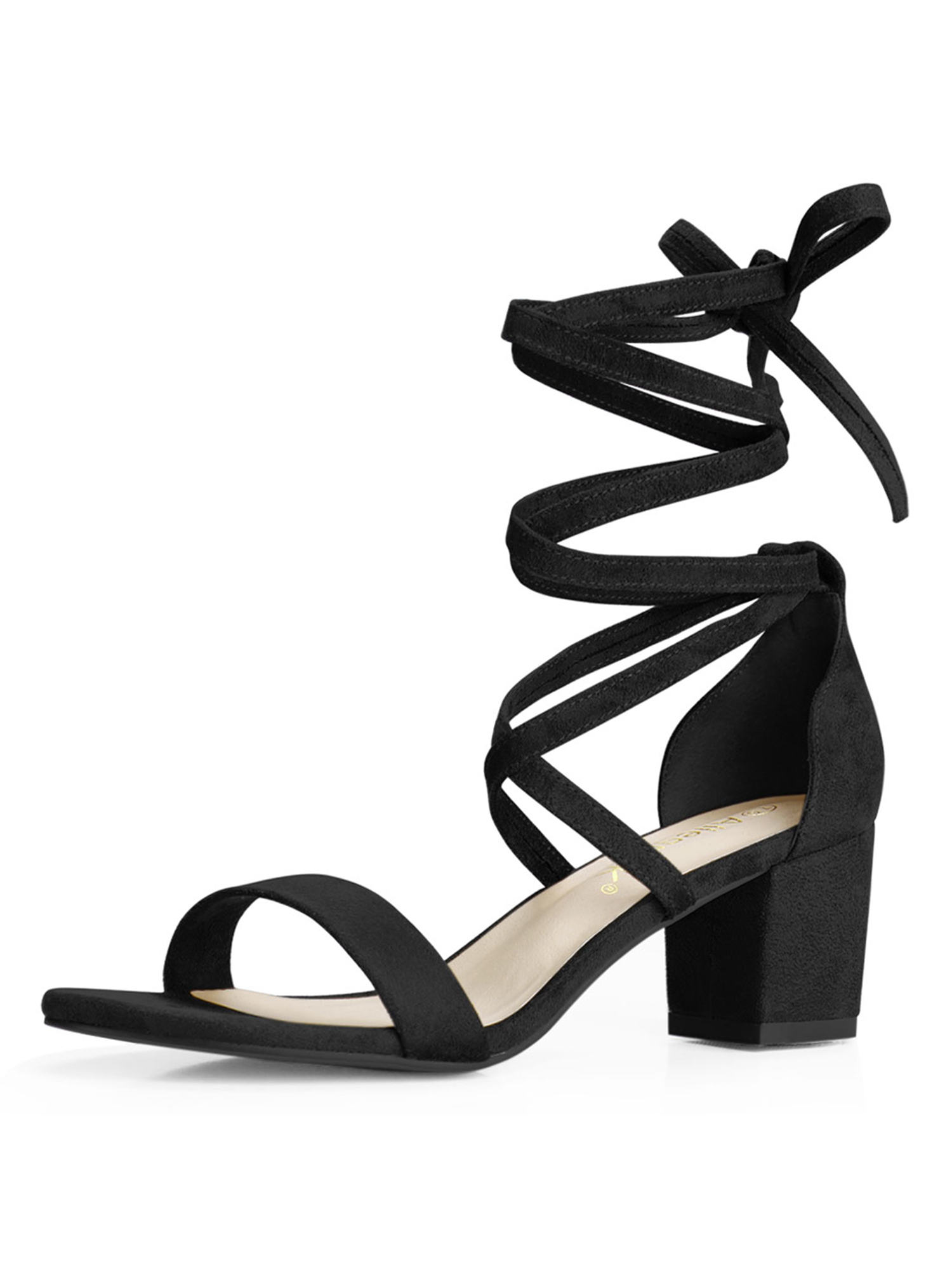 Unique Bargains Women s Lace Up Open Toe Mid Chunky Heeled ...