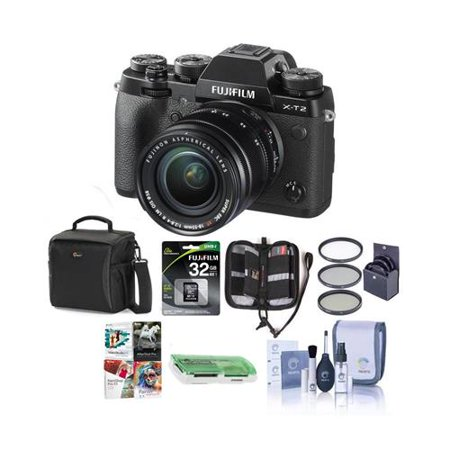 X-T2 Mirrorless Digital Camera with 18-55mm Lens - Bundle With Fuji Vertical Power Grip, Camera Case, 32GB SDHC U3 Card, Cleaning Kit, Memory Wallet,