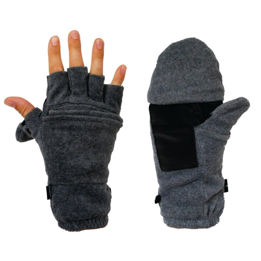 PolarEx Fleece Glomitts Flip Top Miittens Gray Extra Large by Hot Headz