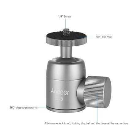 Andoer D-4 Mini Tripod Ball Head Aluminium Alloy Tripod Mount Ballhead with 1/4inch Srew 3/8inch Screw Hole 360° Rotating Panorama for Smartphones Cameras DSLR Max. Load 5kg - image 7 de 7