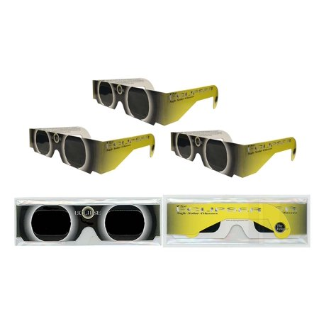 Solar Eclipse Glasses   Iso Certified  Ce Approved  3 Pairs Sleeved    Yellow Sun    Solar Shades