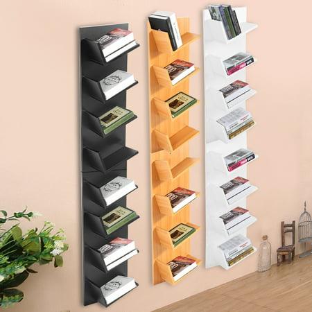 Wall Mounted Bookshelf8 Tier CD Shelf DVD Bookshelf Display Storage Rack Organization Cabinet