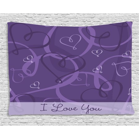 Indigo Tapestry, Lavender Colored Romantic Themed Image with Hand Drawn Hearts Image, Wall Hanging for Bedroom Living Room Dorm Decor, 60W X 40L Inches, Eggplant Purple and Lilac, by Ambesonne 5 Heart Wall Hanging