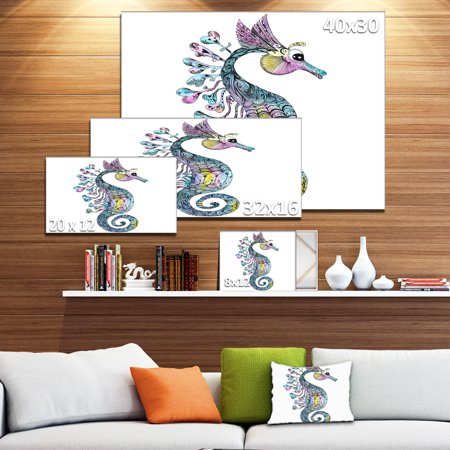 Design Art - Colorful Seahorse Watercolor - image 3 of 4