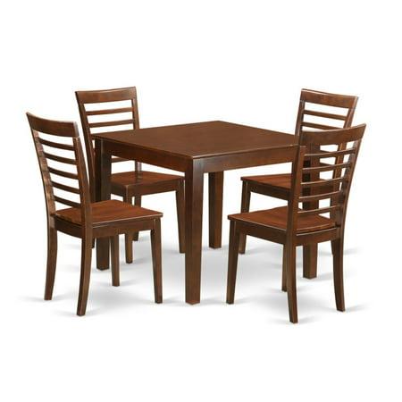 East West Furniture 5 Piece Straight Ladderback Breakfast Nook Dining Table  Set