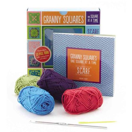 Granny Squares, One Square at a Time Scarf: Creative Craft Kit, Includes Hook and Yarn for Making a Granny Square Scarf