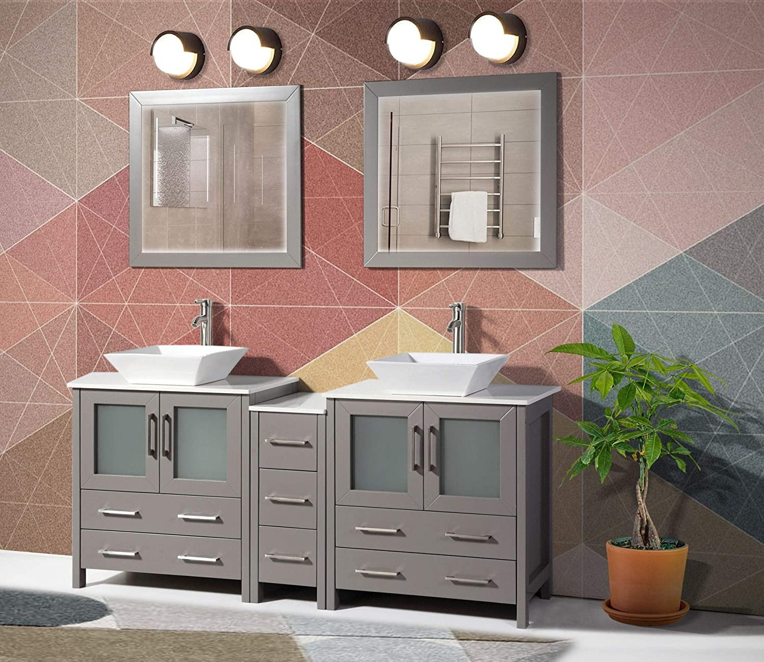 Vanity Art 72 Inches Double Sink Bathroom Vanity Combo Set 7 Drawers 2 Shelves 3 Cabinet Quartz Top Bathroom Vanity With Sink And Free Mirror Va3130 72g Walmart Com Walmart Com