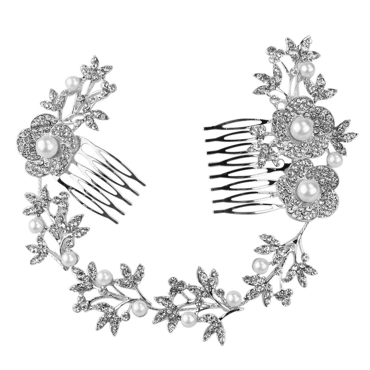 Wedding Bridal Hair Comb Pearl Crystal Flower Leaf Hair Clip Side Comb Pin Bridal Headpiece