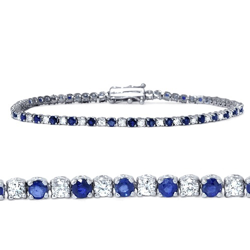 3ct Blue Sapphire & Diamond Genuine Tennis Bracelet 14K White Gold by Pompeii3