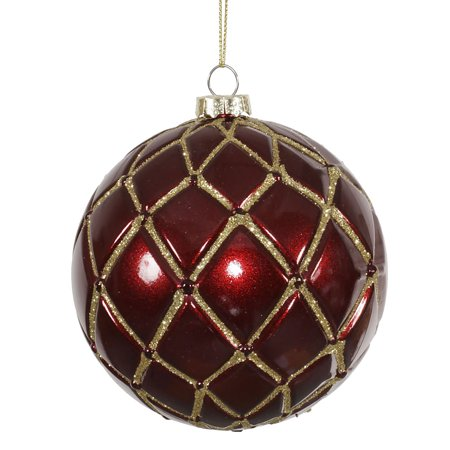 6ct candy finish burgundy with gold glitter net christmas for Maroon christmas tree decorations
