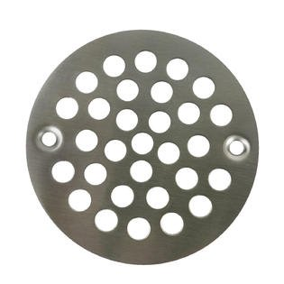 "Satin Nickel Round Stamped Shower Grate Drain 4 1/4"" Replacement Cover Tile Stalls"