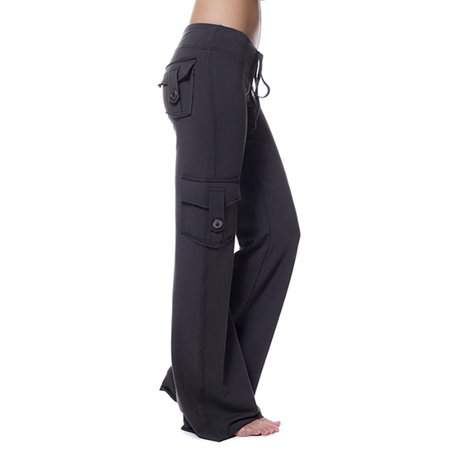 Women's Plus Size Yoga Trouser Sports Stretchy Pockets Running Buttons Pants