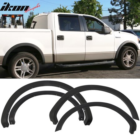 Fits 04-08 Ford F150 4PC Unpainted Black OE Style Fender Flares Wheel Cover PP ()