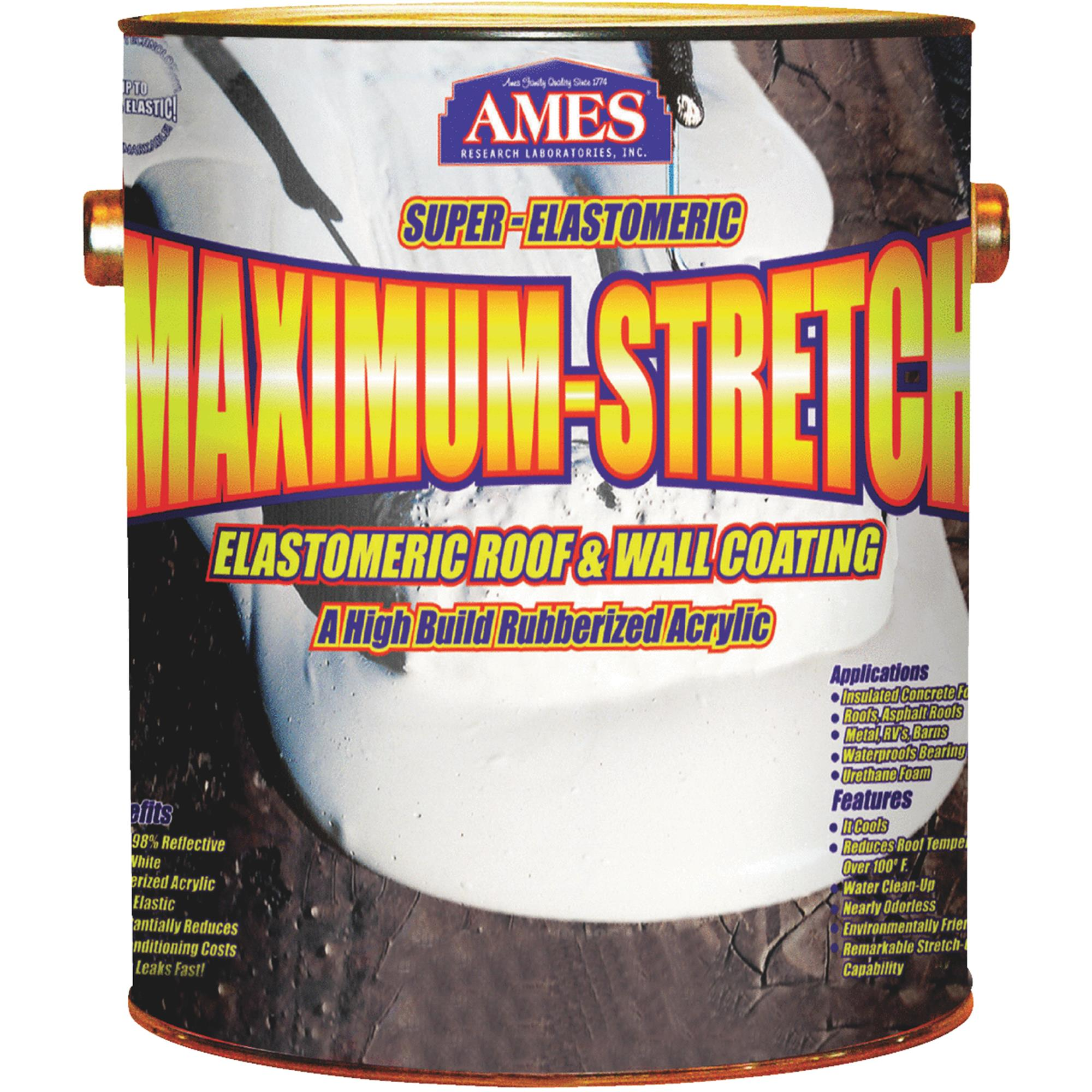 Ames Maximum Stretch Rubber and Acrylic Roof Coating 1 gallon White by Ames Research Laboratories, Inc.