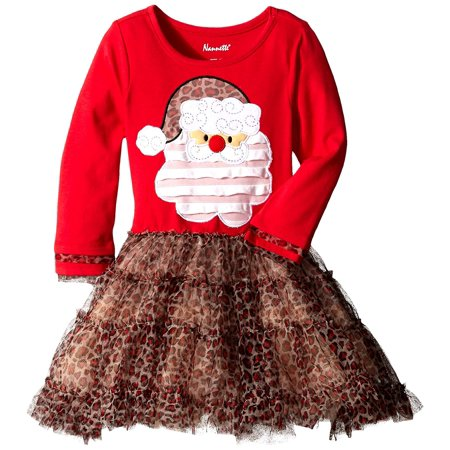 Toddler Christmas Outfit.Toddler Girls Santa Claus Leopard Christmas Dress