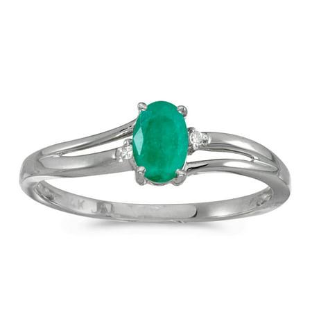 14k White Gold Oval Emerald And Diamond Ring Diamond Emerald Fashion Ring