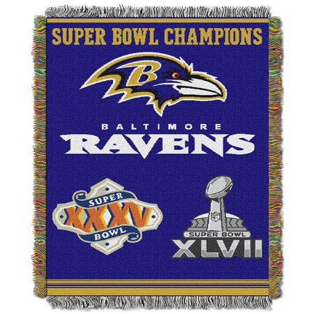 Baltimore Ravens Commemorative Super Bowl Champs Woven Tapestry Throw