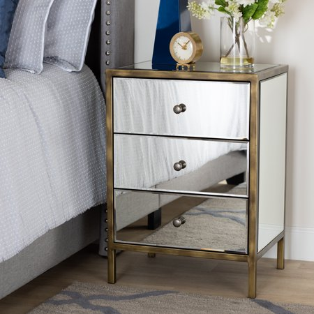Naaman Modern and Contemporary Hollywood Regency Glamour Style Mirrored 3-Drawer Nightstand Bedside Table by Ember Interiors