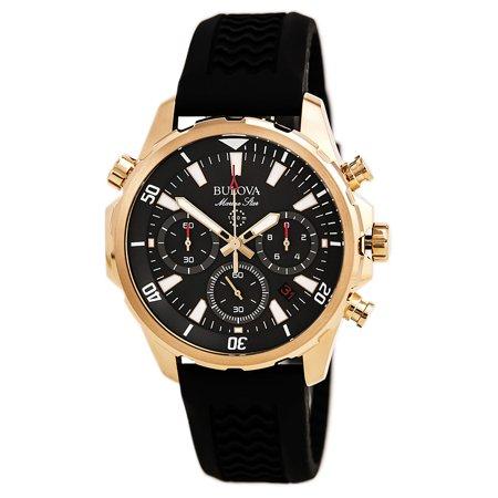 Bulova 97B153 Men's Marine Star Grey Dial Black Silicone Strap Chronograph Watch