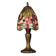 """15"""" Antique Brass Vickers Hand Crafted Glass Tiffany-Style Table Lamp"""