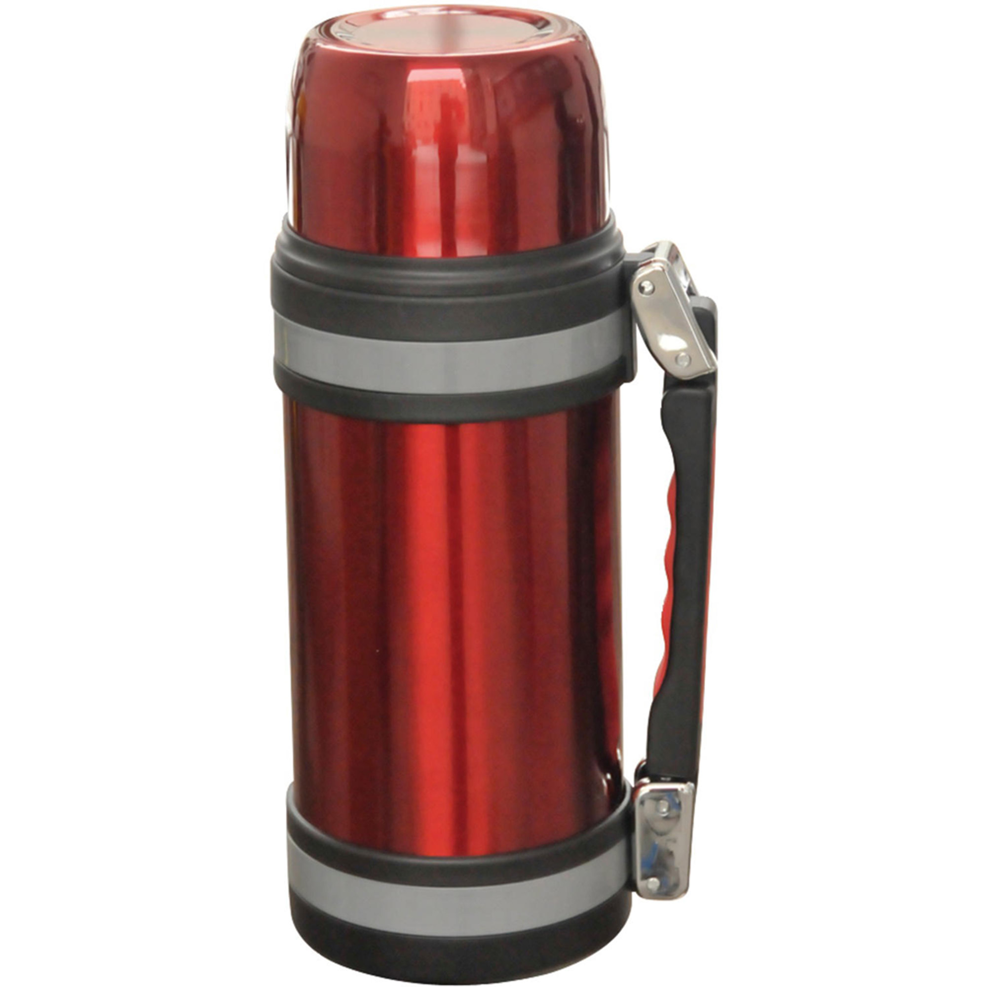 Brentwood  FTS-1200R 1.2-Liter Vacuum Bottle with Handle, Red Stainless Steel