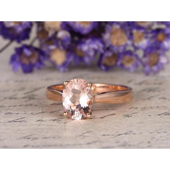 a418597c651fa Solitaire 1 Carat Oval Cut Morganite Engagement Ring in Rose Gold